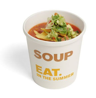 Summer soups include Pea & Mint, Spicy Tomato and Butterbean, Chicken & Mint.