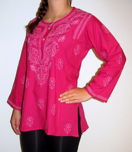 Beautiful cotton long sleeved tunic tops on sale. All sizes XS to 5X.
