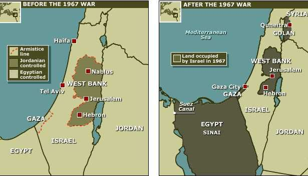 Map of before and after The Six Day War  Excluding the Sinai