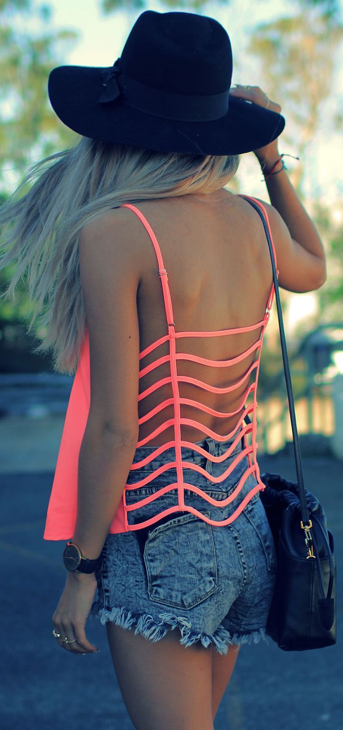 Open Back Neon Coral Top