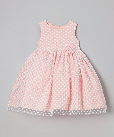 Coral Polka Dot Overlay Dress - Girls #zulily #zulilyfinds