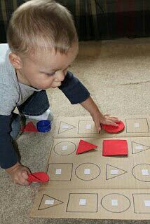 This could be modified into a felt sheet and included in a box. shapes game for toddlers