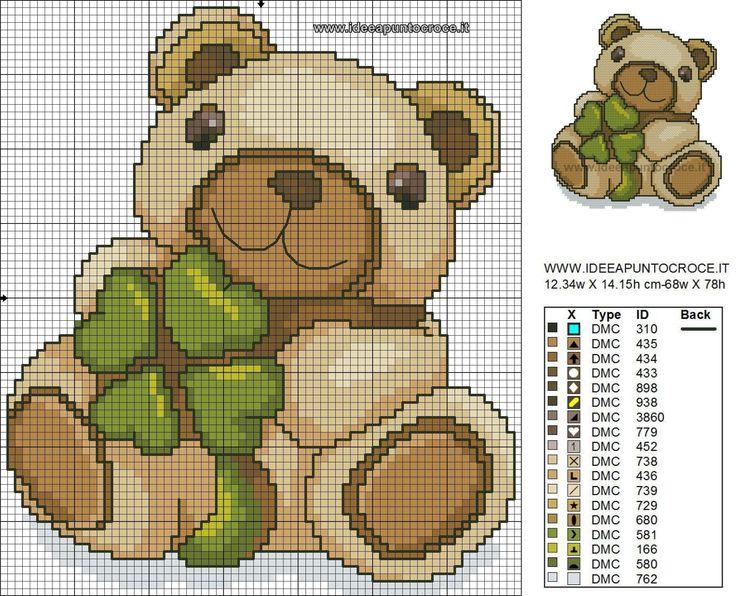 Teddy orso punto croce baby animali thun