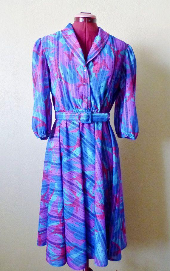 vintage ROCKABILLY blue/purple dress. geometric dress. by june22nd
