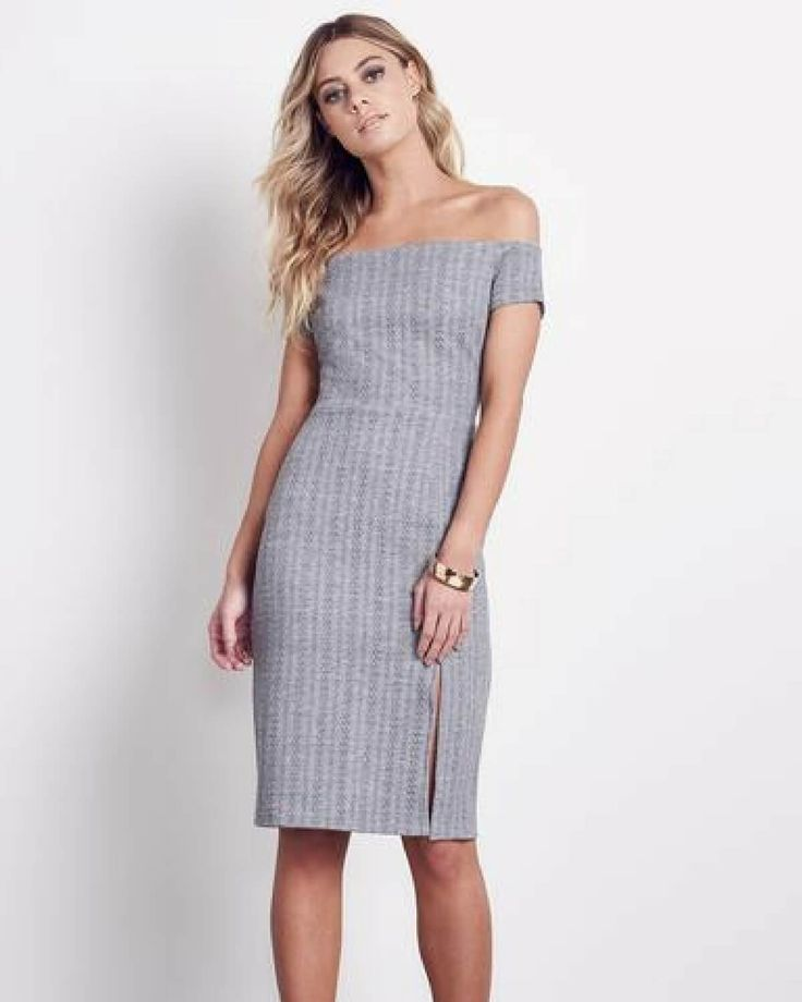 The Ali & Jay dress in grey, is an off the shoulder textured fabric that features a sexy side slit and is lined for fall or winter.