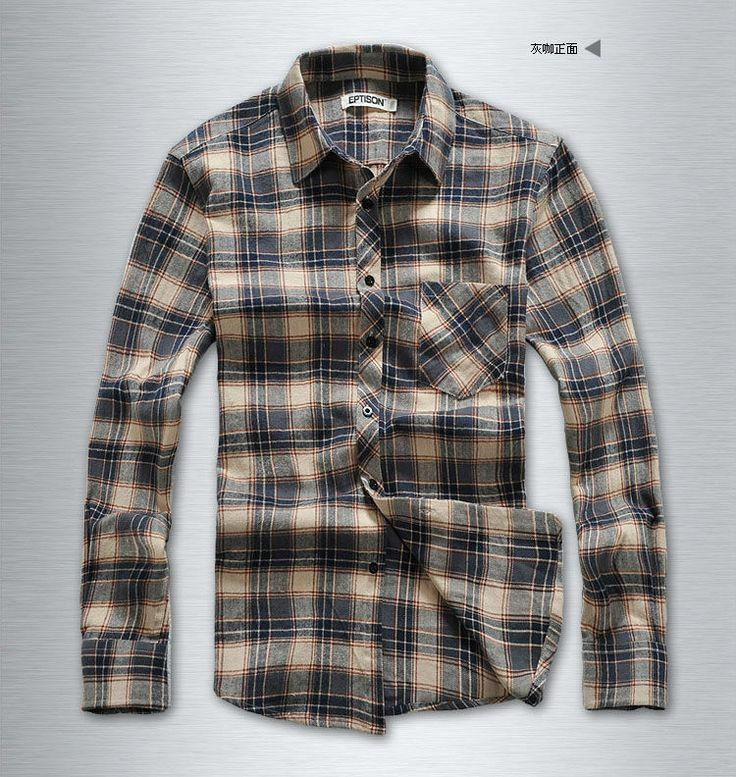 cotton flannel shirt, checked shirts for man $3~$8