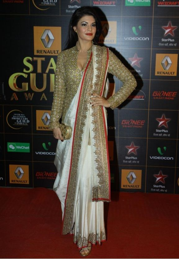 Jacqueline wearing an Anand Kabra #Saree at the Star Guild Awards 2014.