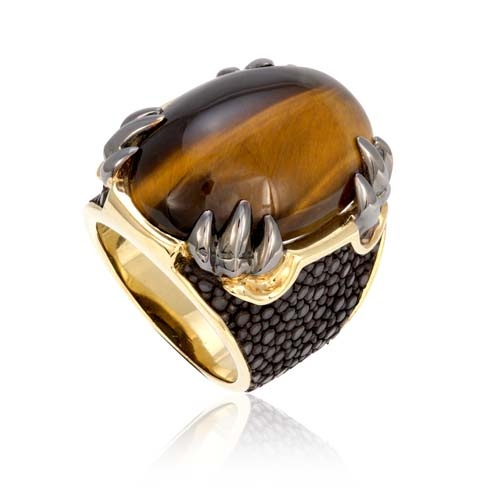 Ring stingray stone gold luxury jewel woman accessory stingray leather