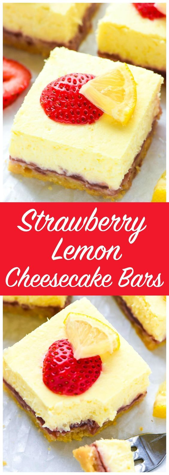 Creamy and rich Strawberry Lemon Cheesecake Bars — Layers of buttery shortbread crust, strawberry jam, and creamiest lemon cheesecake. The perfect summer dessert for any picnic or potluck! Recipe at www.wellplated.com @wellplated
