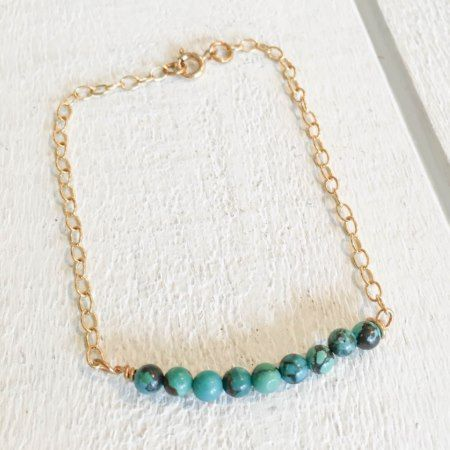 Turquoise Bead Bracelet with Gold Chain - click to get yours right now!