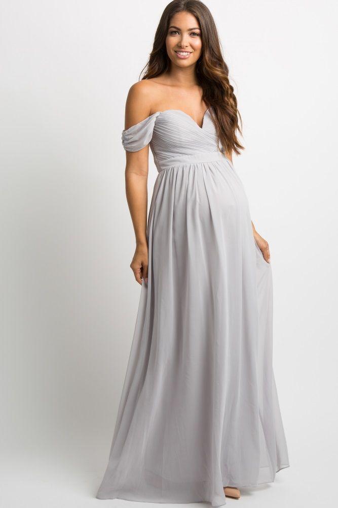 Grey Chiffon Pleated Off Shoulder Maternity Evening Gown Maternity Evening Gowns Maternity Bridesmaid Dresses Maternity Evening Dress