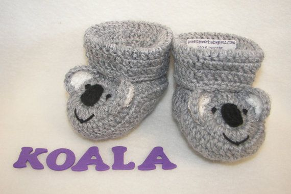 Baby Booties, Koala Bear, NB to 6 Months or 6 to 12 Months Finely Finished Crochet Baby Gift on Etsy, $35.75