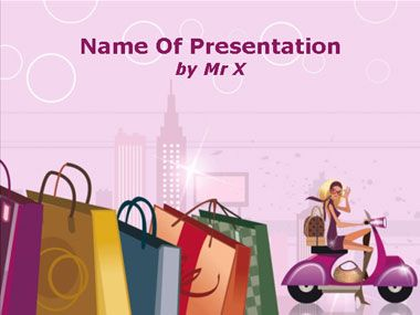 Fashion Shopping Girl Powerpoint Template