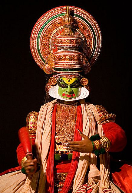 A traditional Kathakali Dancer in Cochin, Kerala. We enjoy a Kathakali dance performance during our rail tours of southern India http://www.greatrail.com/great-train-tours-holiday-destinations/india--the-orient/cochin.aspx