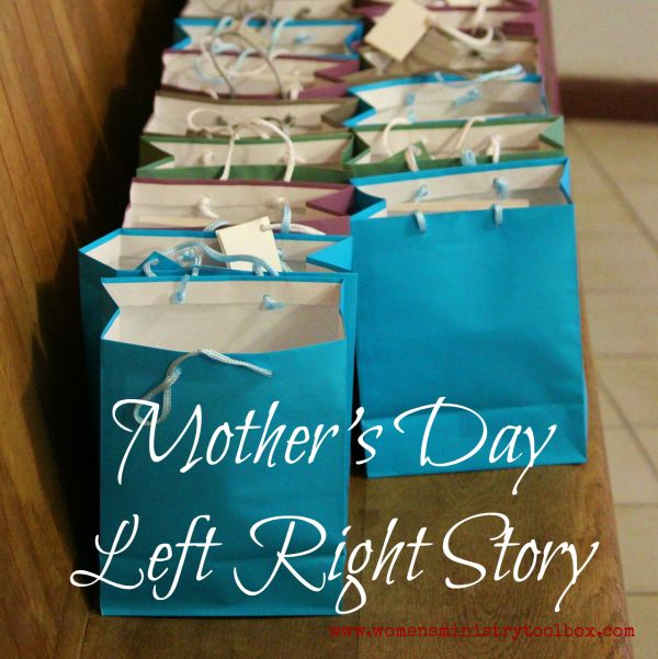 Left Right stories and games are always a hit, no matter the size or age of the group! I created this story for you to use at your next Mother's Day Women's Ministry event. With very little tweaking, it could be used for really any Women's Ministry event, fellowship, Bible study, or Small group.