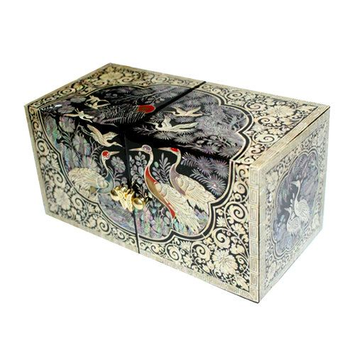 Lacquer ware inlaid new mother of pearl handcrafted jewelry case,jewel box trinket box Ten Symbols Of Longevity Design. $78.00, via Etsy.