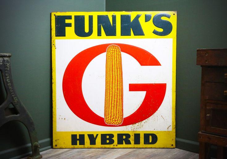 Funks hybrid vintage advertising large metal sign feed