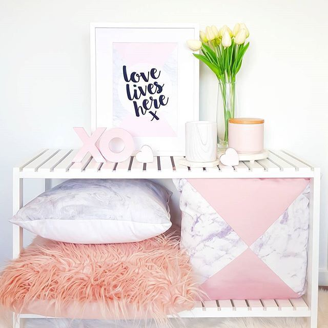 Marble and blush, love lives here print in A4.