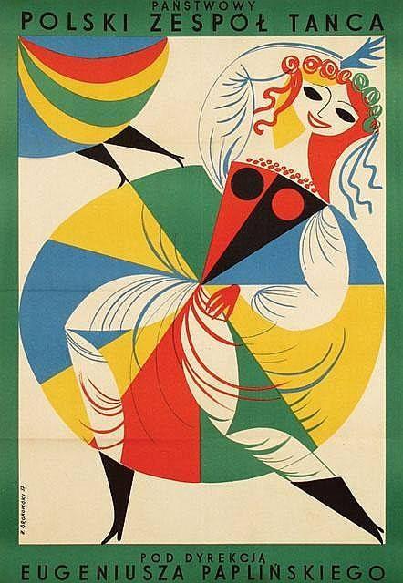 """Jerzy Srokowski (1910-1975), 1957 """"Corpo di Ballo nazionale polacco sotto la direzione di Eugeniusza Paplinskiego"""" BALLI COSTUMI FOLKLORE"""