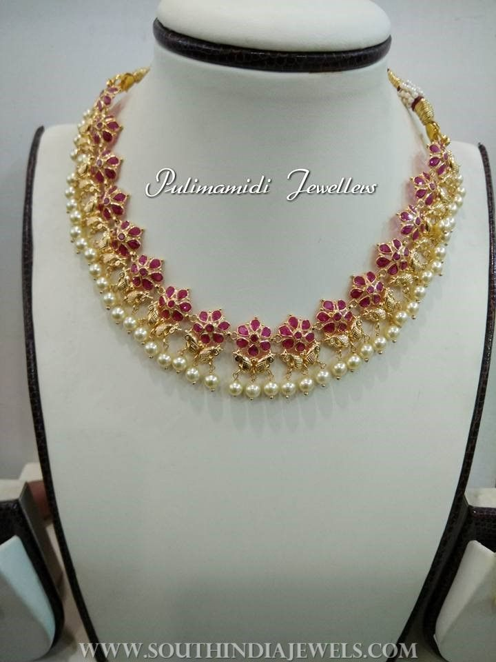 20 Grams Gold Necklace From Pulimamidi Jewellers South India Jewels Ruby Necklace Designs Gold Necklace Designs Gold Jewellery Design Necklaces