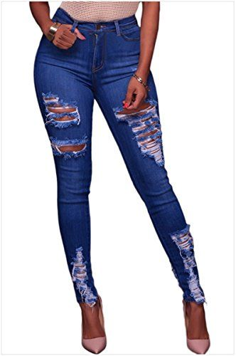 c50ca66d0c782 Women s Classic High Waist Butt Lift Stretch Ripped Hole Pants Skinny Jeans