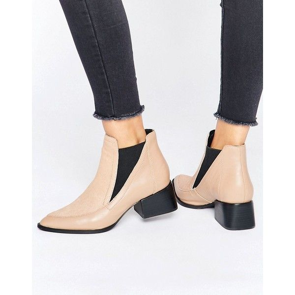 Sol Sana Rico Nude Pony Leather Heeled Ankle Boots ($185) ❤ liked on Polyvore featuring shoes, boots, ankle booties, beige, pointy toe booties, beige ankle boots, ankle boots, short boots and nude ankle boots