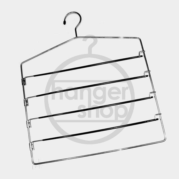 NON SLIP METAL TROUSER RACK COAT HANGER WITH 4 SWING BARS - WARDROBE ORGANISER