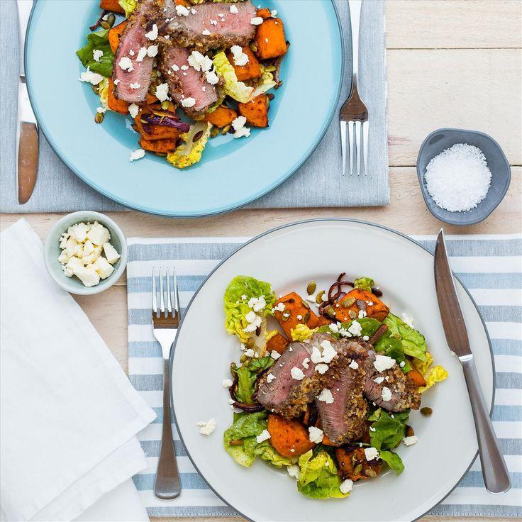 Mustard-Crusted Rump Steaks with Roast Pumpkin Salad