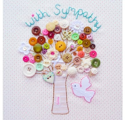 With Sympathy Card. Love the tree embroidery and buttons for blossoms!