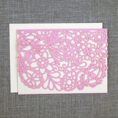 Image of Pink Paisley Laser Cut Card