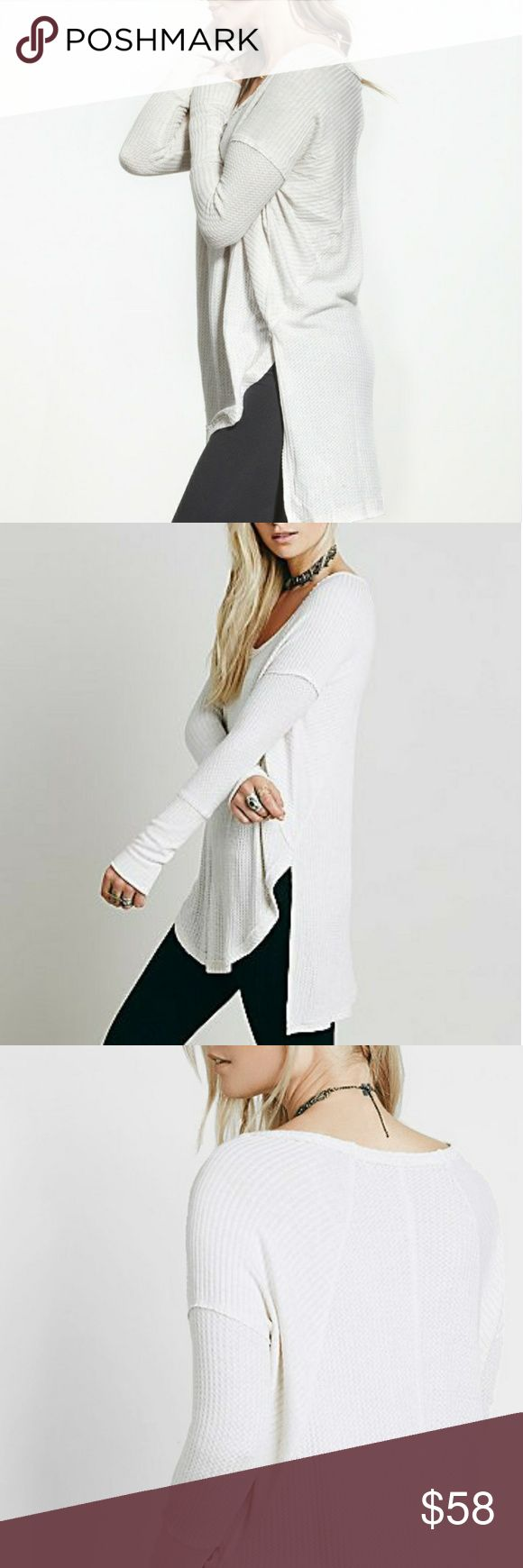 NIP Free People Drippy Ventura Thermal So-soft drippy thermal in a yummy textured stretch fabric. Swing silhouette with subtle high-low hem and side vents. Raw seams and wide ribbed cuffs in Oatmeal.   Brand New in Package ~ no flaws.   Save an extra 20% with a bundle discount.   Ships next business day. Free People Tops Tees - Long Sleeve