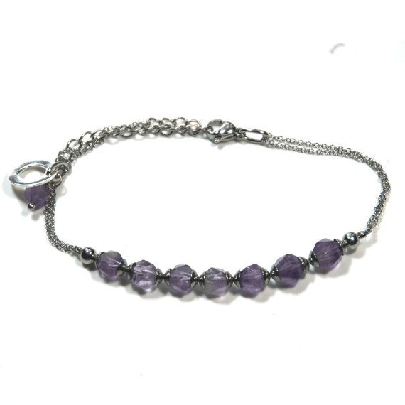 Amethyst micro bracelet with stainless steel spacers, chain & clasp