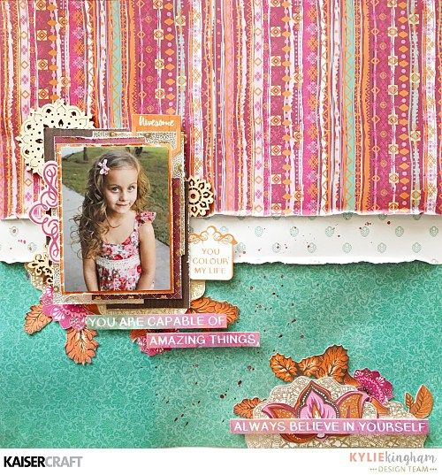 'You Colour My World' Layout by Kylie Kingham Design Team member for Kaisercraft Australia Official Blog featuring their May 2017 'Bombay Sunset' collection. Learn more at kaisercraft.com.au/blog ~ Wendy Schultz ~ Scrapbook Layouts.