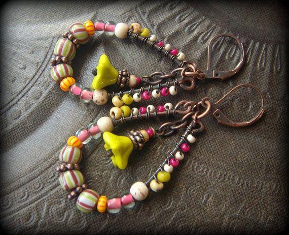 Boho Hoops perline colorate Tribal africani fiori di YuccaBloom