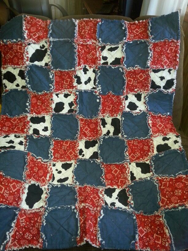 Lil Cowboy Rag Quilt Denium Red Bandana and Cow Print see ...