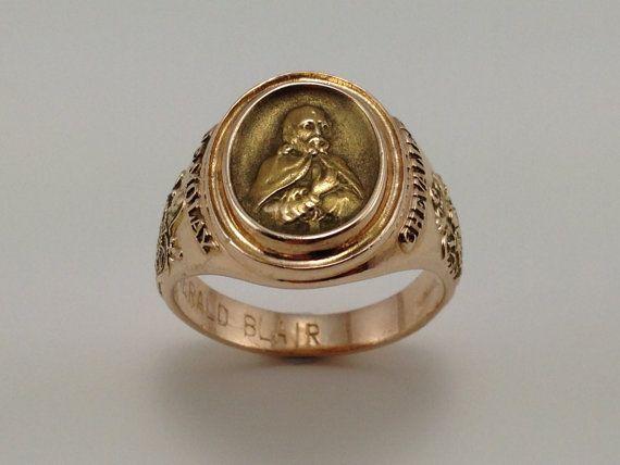 Gold Demolay Ring  Men's Masonic Jewelry  10K by EstateJewelryMama