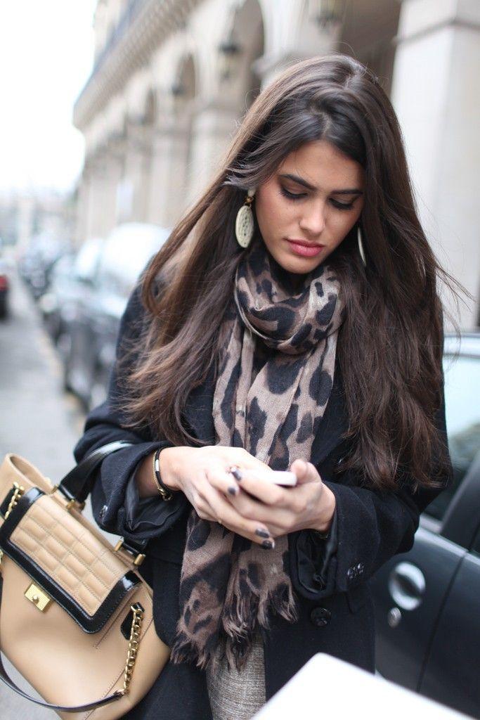 Parisian style - Love the scarf...