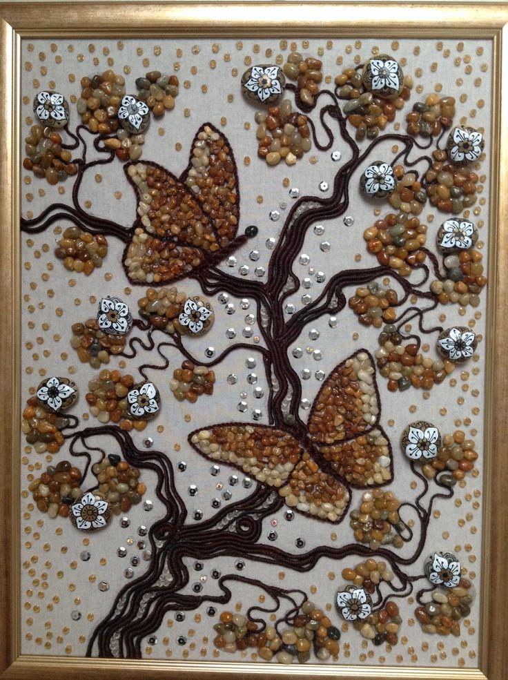 Pillangós kép  30/40 cm kavics-gyöngy-textil kép