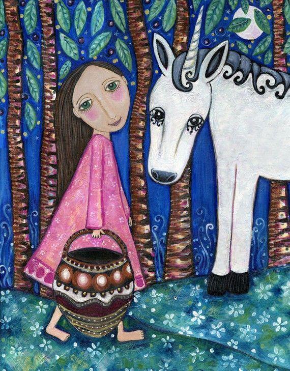 Unicorn Art Print meisjes kamer folk schilderij grillige cadeau dierlijke kunst wit paard bos schattig kwekerij Print Childrens Art-  Titel: een wandeling In het bos  Dit is een afdruk van een origineel werk dat ik heb gemaakt met een adellijke titel A Walk in the Forest. Het originele schilderij is gemaakt van acryl, impasto en collage.  De grootte van de afdruk is 21 x 29cm (8,25 x 11,5 inch) met de grootte van de werkelijke afbeelding 16,5 x 21,5 cm (6.5 x 8,5 inch). Hij heeft met…