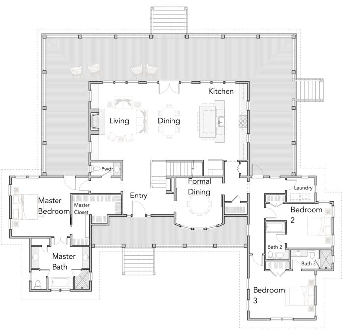 Large Open Floor Plans with Wrap Around Porches - Rest Collection   Flatfish Island Designs
