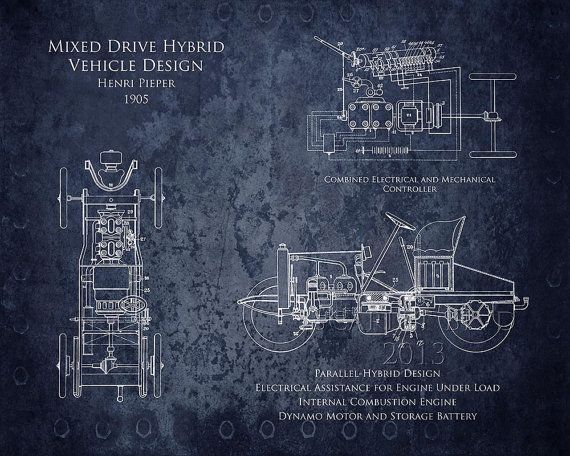 16 x 20 Early 1900s Hybrid Vehicle blueprint art print
