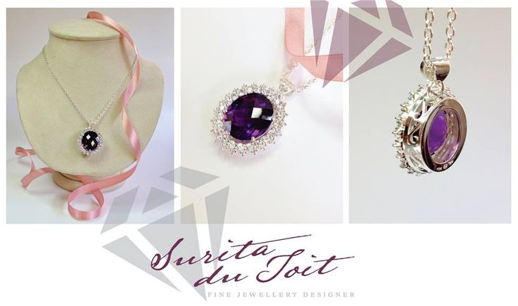 Sterling silver pendant set with natural amethyst and natural white sapphire. Hand manufactured by Surita du Toit.