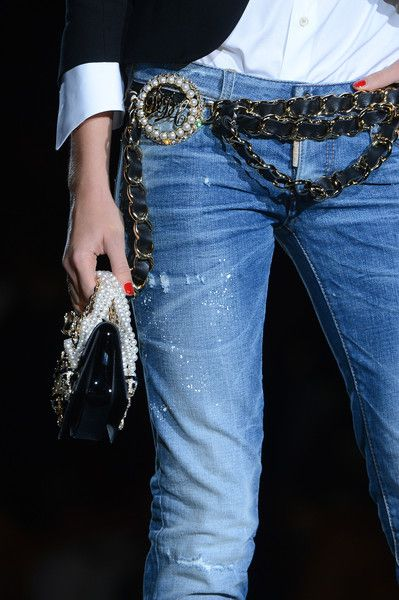 Dsquared² Spring 2013 | loving the blingy belt & the pearls for mini purse handle  ❤️ |