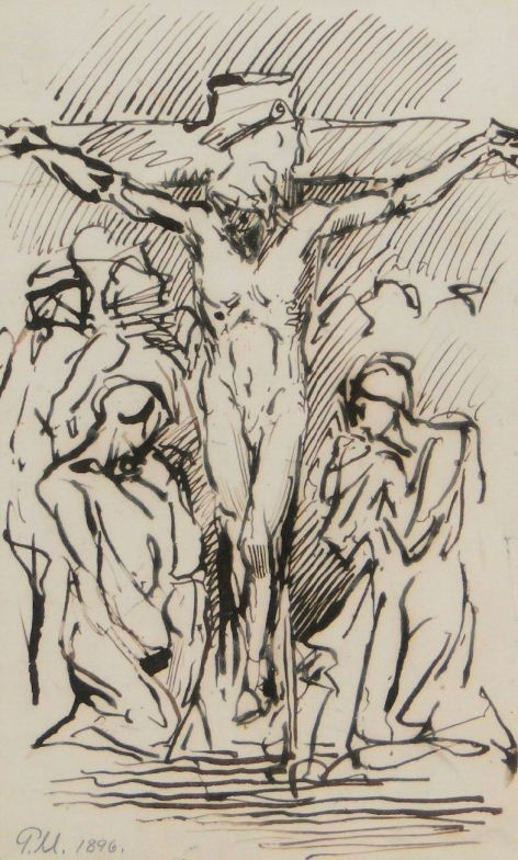Dr. James Pittendrigh MacGillivray (1856-1917) Pen & Ink, Crucifixion Scene - Love the style more than actual image.
