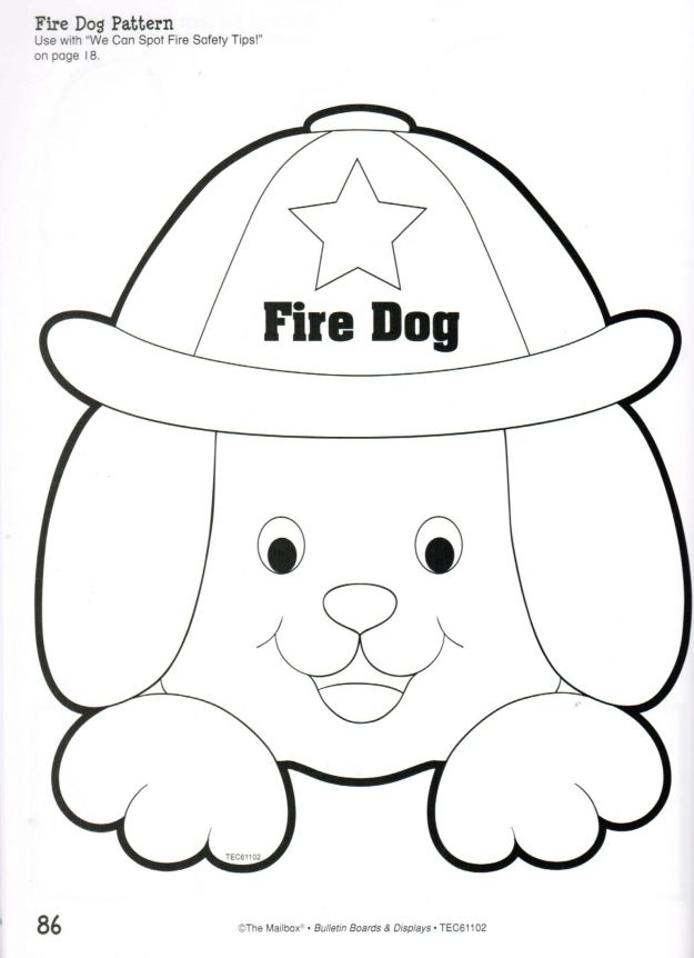 Fire Dog Coloring Template Sketch Coloring Page