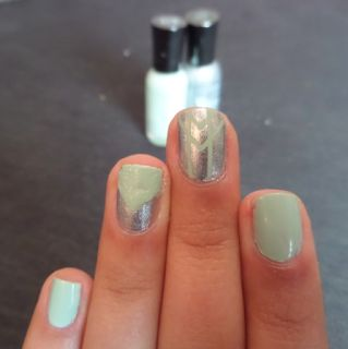 Mint and Silver Stripe Nails