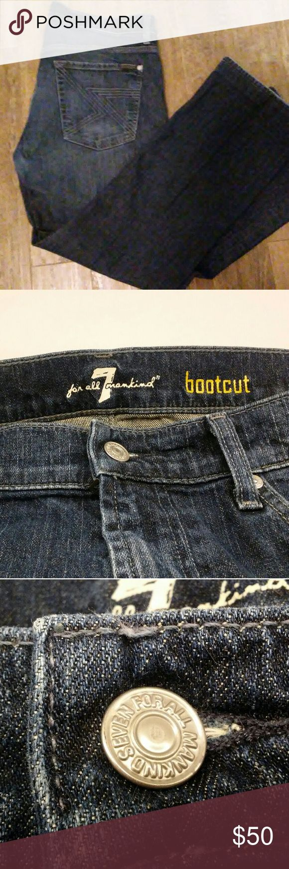 7 For All Mankind Men's Bootcut Dark Wash Jeans Super great condition 7 For All Mankind bootcut jeans with the black label. All buttons and rivets are stamped as they should be.   36waist and 28 inseam (photo show what looks like they have been hemmed)   Small snag on right hand thigh close to seam. Not sure if that is intentional distressing or not. 7 For All Mankind Jeans Bootcut