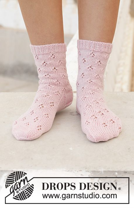 Knitted socks in DROPS Nord. The work will be …