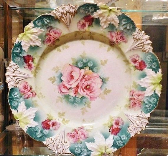 """RS Prussia Antique Porcelain Large Charger 12"""" Art Nouveau Victorian 1900s R S Prussia Cake Plate Platter Rare Large Size RS Prussia Germany Etsy $249.00"""