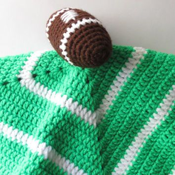 Football Security Blanket, Crochet Security Blanket, Baby Security Blanket, Security Blanket Football, Crochet Baby Lovey, Football Lovey